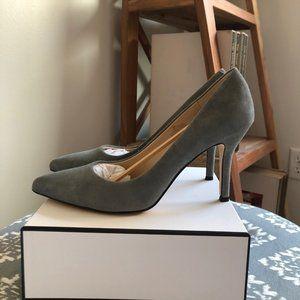 Nine West Flax Pump grey suede pointed toe heels